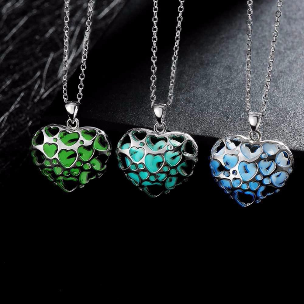 heart stone plated necklace the luminous pendant glowing locket product glow superfect jewelry love in women silver fairy dark